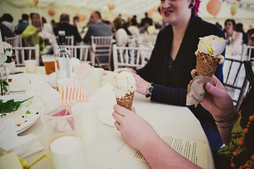 Two ice creams at Derby wedding