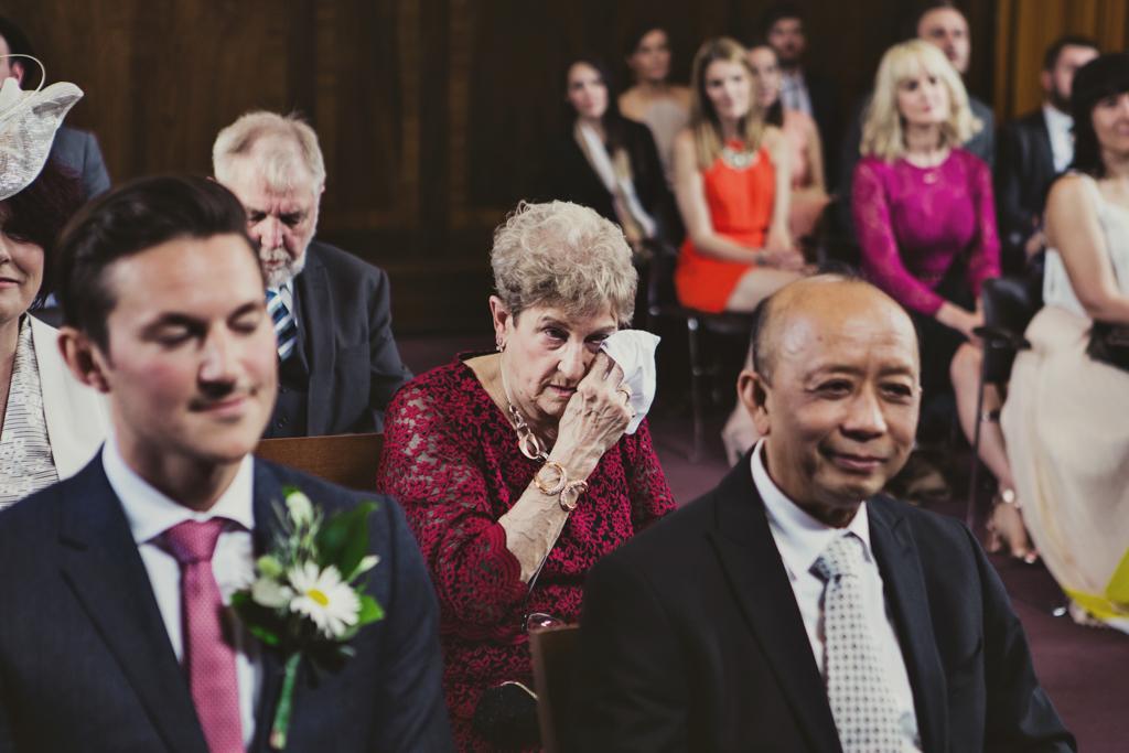 gran crying at wedding at Stoke Newington Town Hall wedding