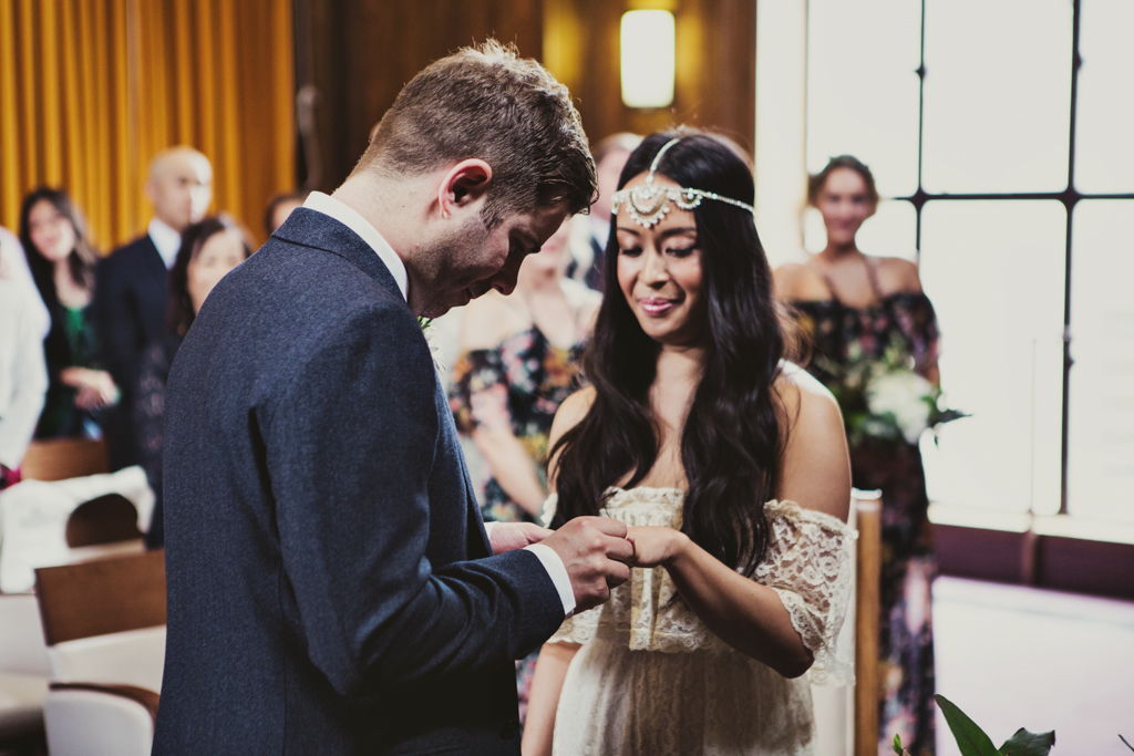 ring exchange at a stoke newington town hall wedding