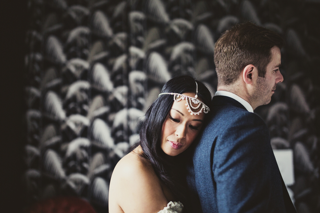 bride and groom portrait at The Roost Hackney