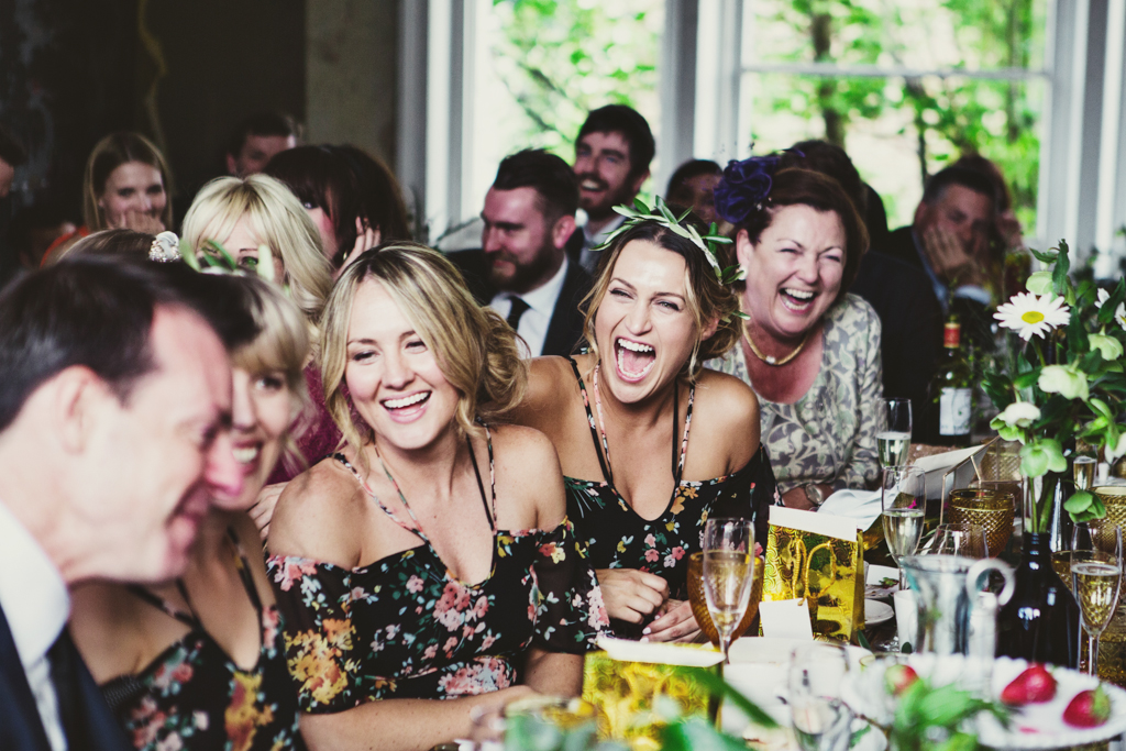 bridemaids during the speeches by Lisa Jane Photography
