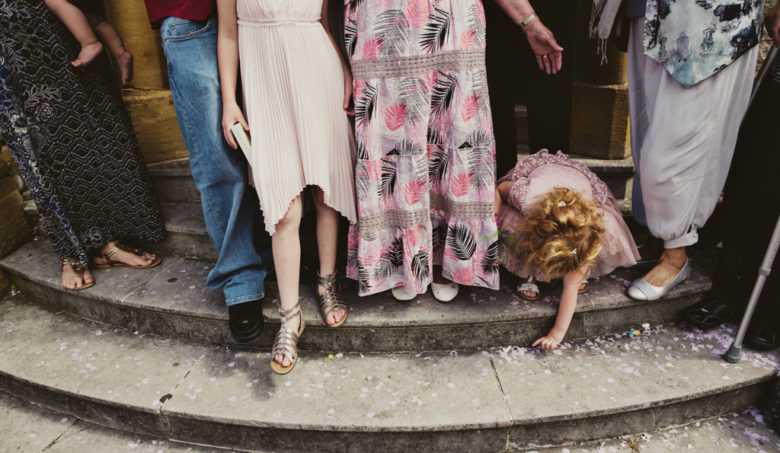 confetti moment at a London wedding