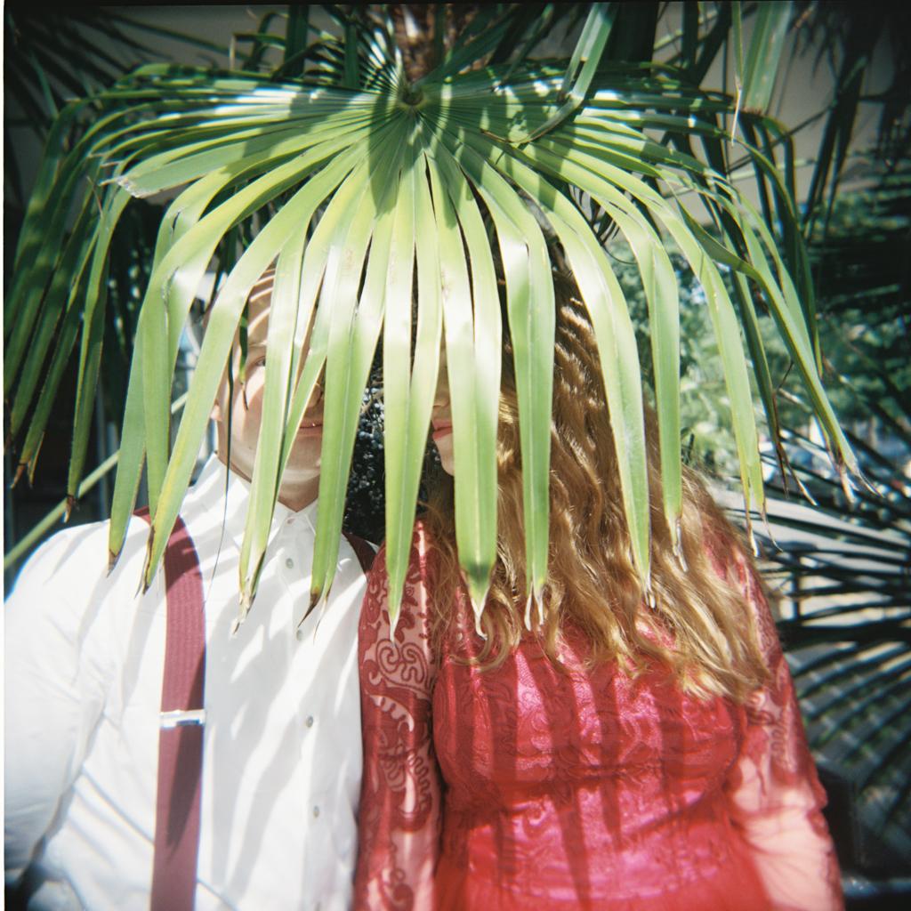 couple kissing behind fern in a holga wedding portrait