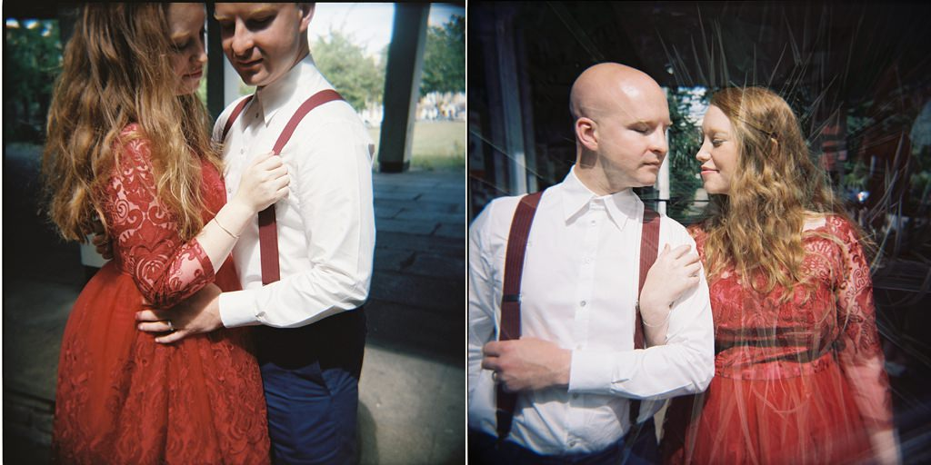 Red vintage bridal dress with groom wearing red braces London elopement wedding
