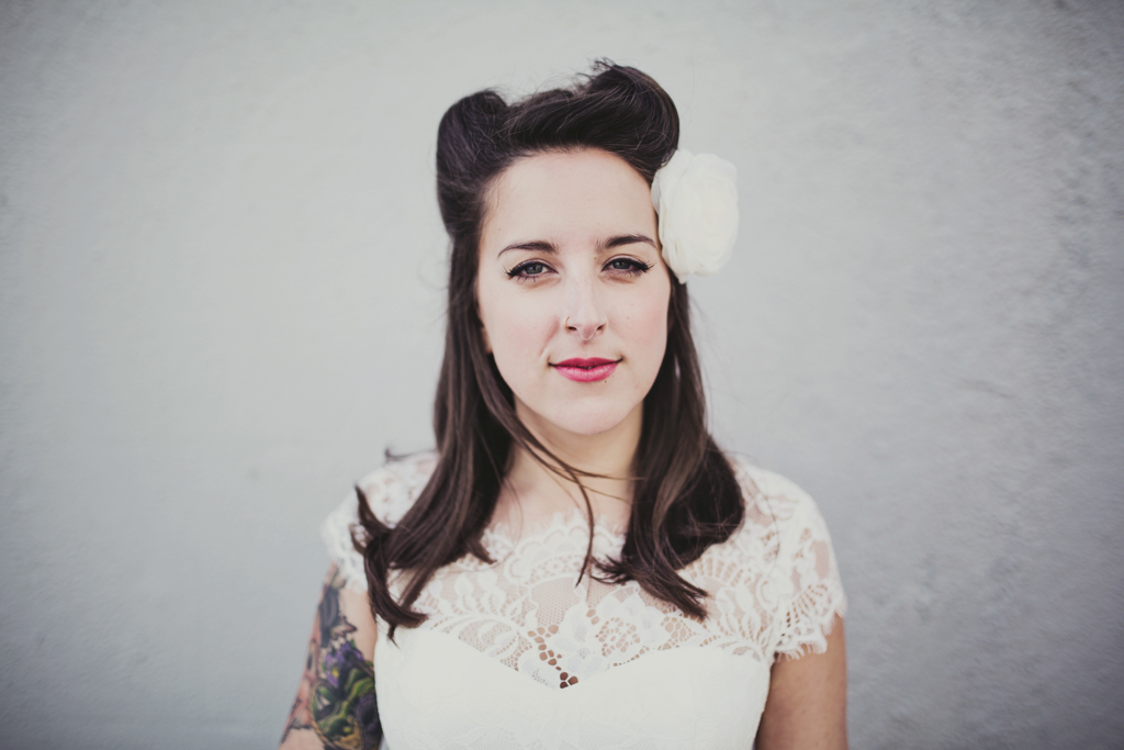 Alternative tattooed bridal wedding portrait Brighton