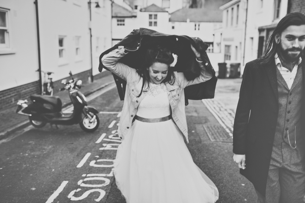 Fur Coat No Knickers bride with groom alternative Brighton wedding