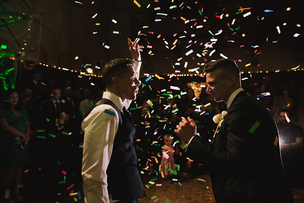 Grooms first dance with confetti canons at a Battersea Arts Centre Wedding by Lisa Jane Photography