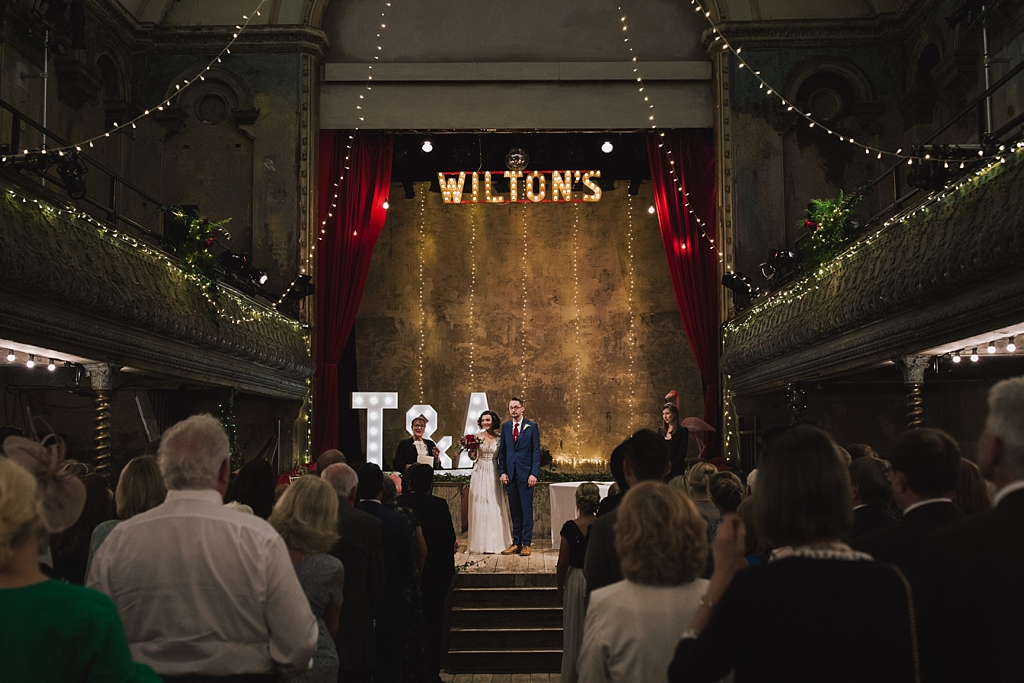 Wedding ceremony at Wiltons Music Hall