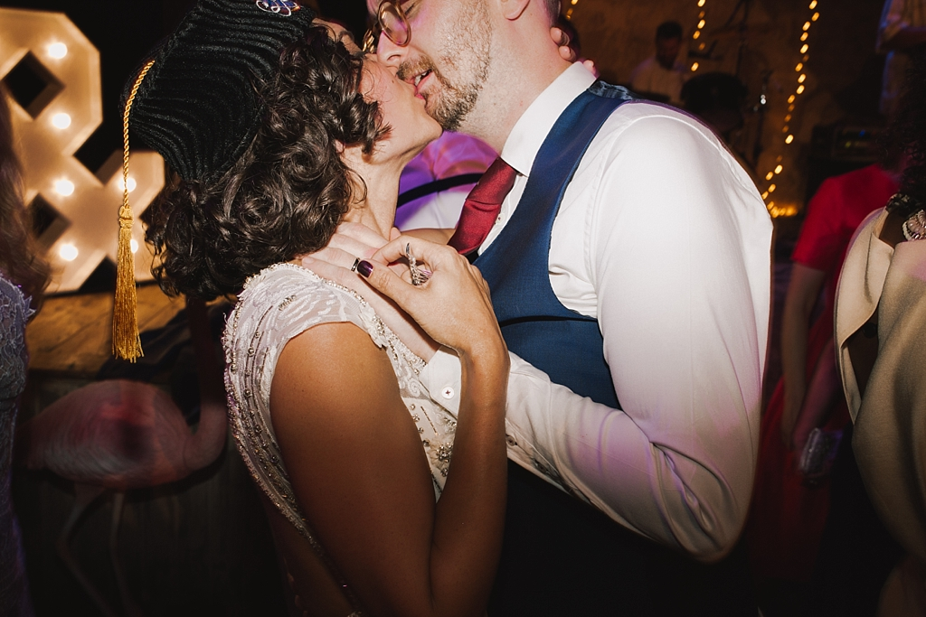 Bride & groom kissing on the dance floor | Wiltons Music Hall Wedding Photographer | Lisa Jane Photography