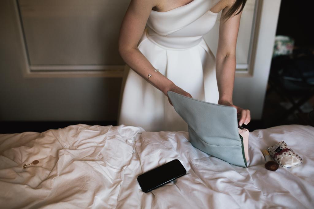 Brides last minute preperations at a Barbican Wedding | Lisa Jane Photography | Barbican Wedding Photography