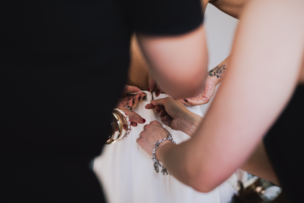 Bride getting ready at Shoreditch Studio Wedding | Lisa Jane Photography | Creative London Wedding Photography