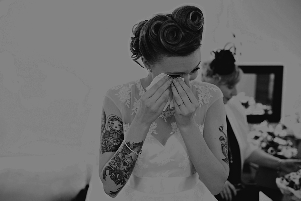 Bride crying at a Northbrook Park Wedding | Lisa Jane Photography | Alternative London Wedding Photography