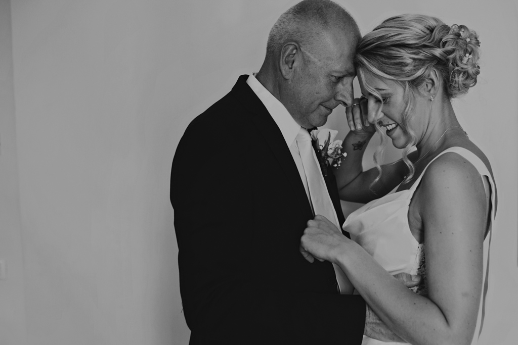 Bride with dad moments before walking down the aisle | Lisa Jane Photography | Destination Wedding Photography