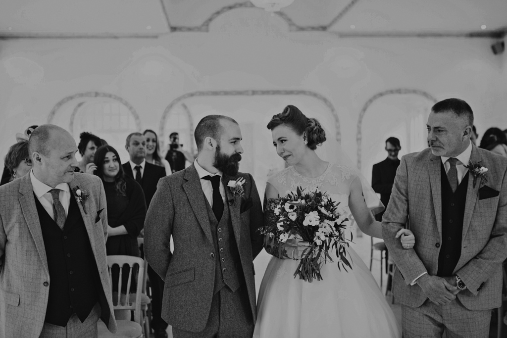 Bride and groom crying at their wedding ceremony | Lisa Jane Photography | Modern London Wedding Photography