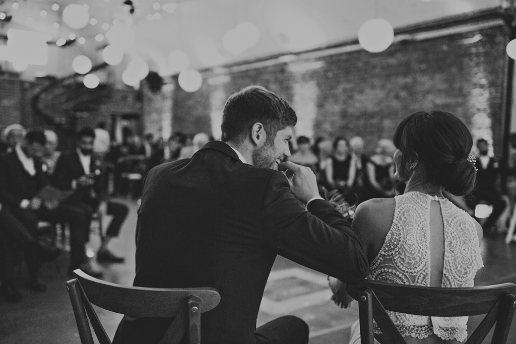 bride and groom laughing at Shoreditch Studios Wedding | Lisa Jane Photography | Modern London Wedding Photography
