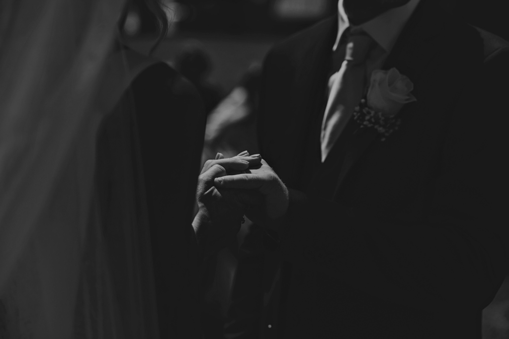 Bride and Groom holding hands at an Italian Wedding | Lisa Jane Photography | Modern London Wedding Photography