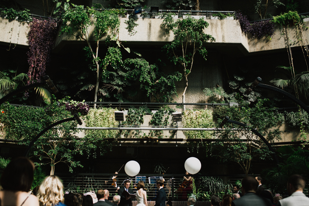 Wedding ceremony at The Barbican Conservatory | Lisa Jane Photography | Modern London Wedding Photography