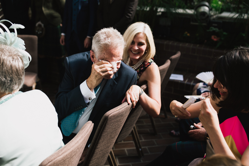 Father of the bride crying during a Barbican Wedding | Lisa Jane Photography | Modern London Wedding Photography