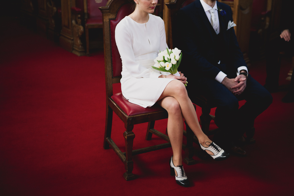Bride and groom at an Islington Town Hall Wedding Ceremony | Lisa Jane Photography | Modern London Wedding Photography