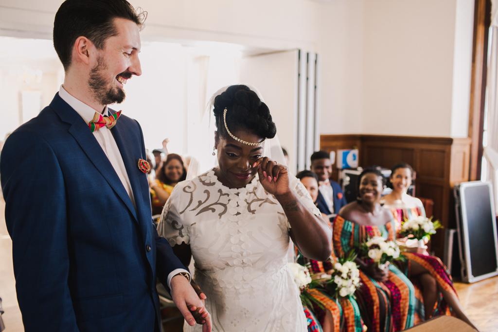 Bride crying at a London Wedding | Lisa Jane Photography | Modern London Wedding Photography