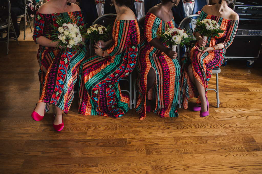 Bridesmaids waiting during wedding ceremony | Lisa Jane Photography | Modern London Wedding Photography
