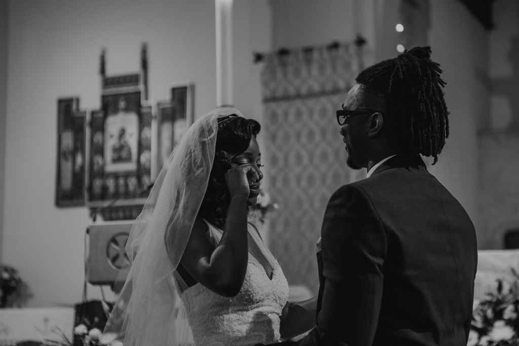 bride and groom during church ceremony| Lisa Jane Photography | Modern London Wedding Photography