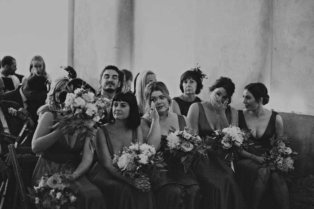 bridesmaids crying during a Loft Studio London Wedding | Lisa Jane Photography | Modern London Wedding Photography