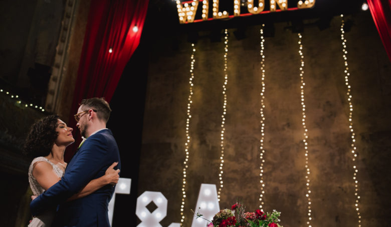 First kiss at Wiltons Music hall | Lisa Jane Photography | Modern London Wedding Photography