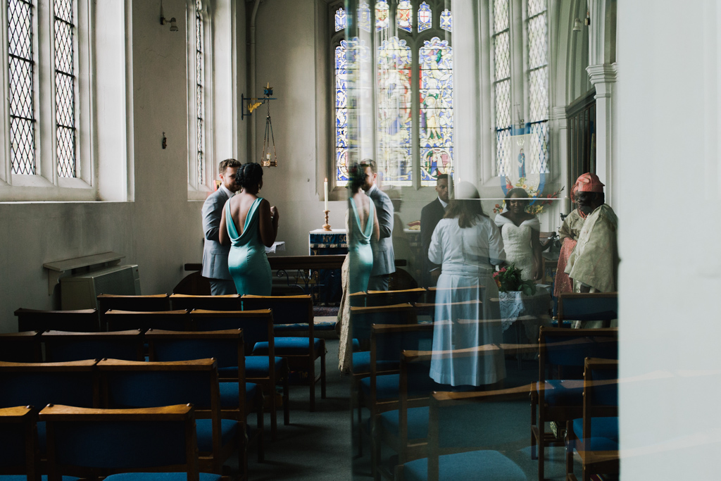 waiting to sign the register at a London Church wedding | Lisa Jane Photography | Modern London Wedding Photography