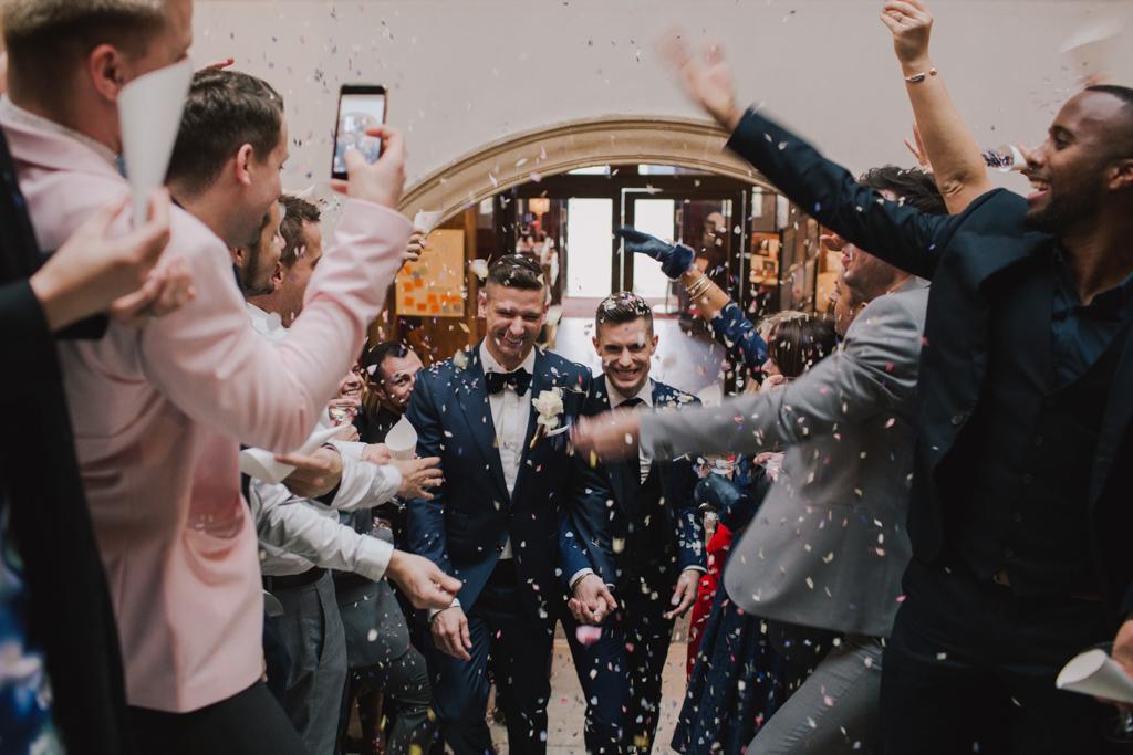 Confetti at Battersea Arts Centre wedding | Lisa Jane Photography | Modern London Wedding Photography