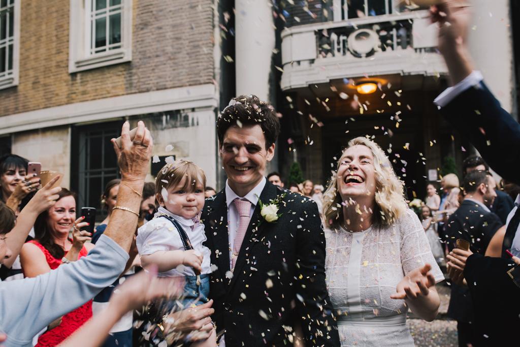 Confetti outside Stoke Newington Town Hall | Lisa Jane Photography | Modern London Wedding Photography
