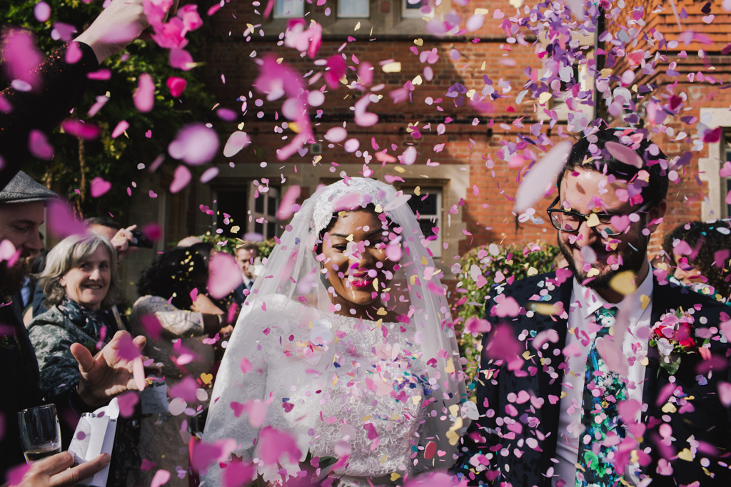 Pink confetti at London Town Hall Wedding | Lisa Jane Photography | Modern London Wedding Photography