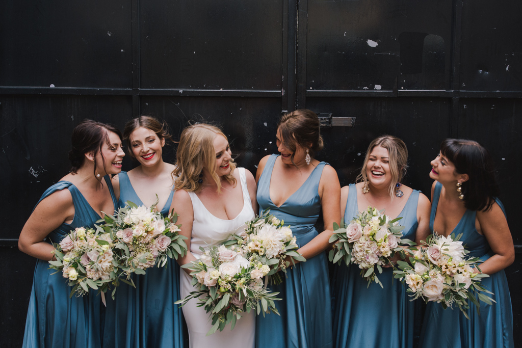 Bride with her bridesmaids at her Loft Studio wedding | Lisa Jane Photography | Modern London Wedding Photography