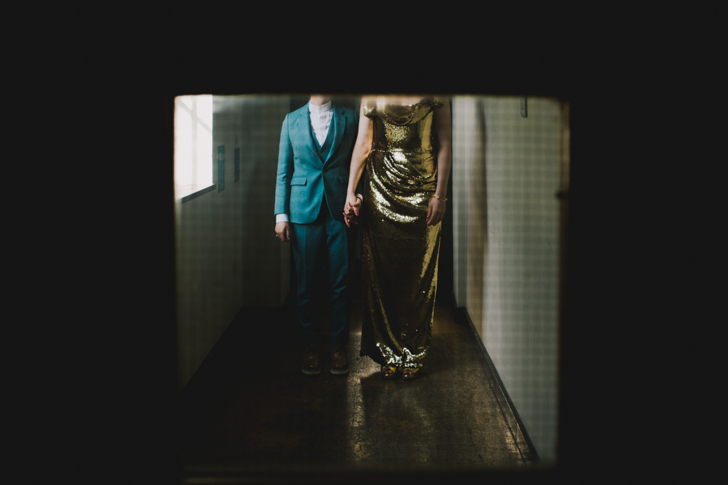 Bride in a bespoke gold sequin dress | Creative London Wedding Photography