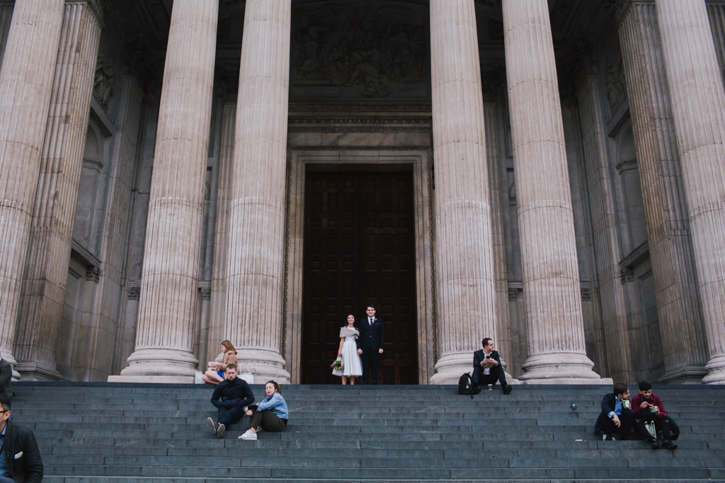 Bride & Groom outside St Pauls | St Pauls Wedding Photography