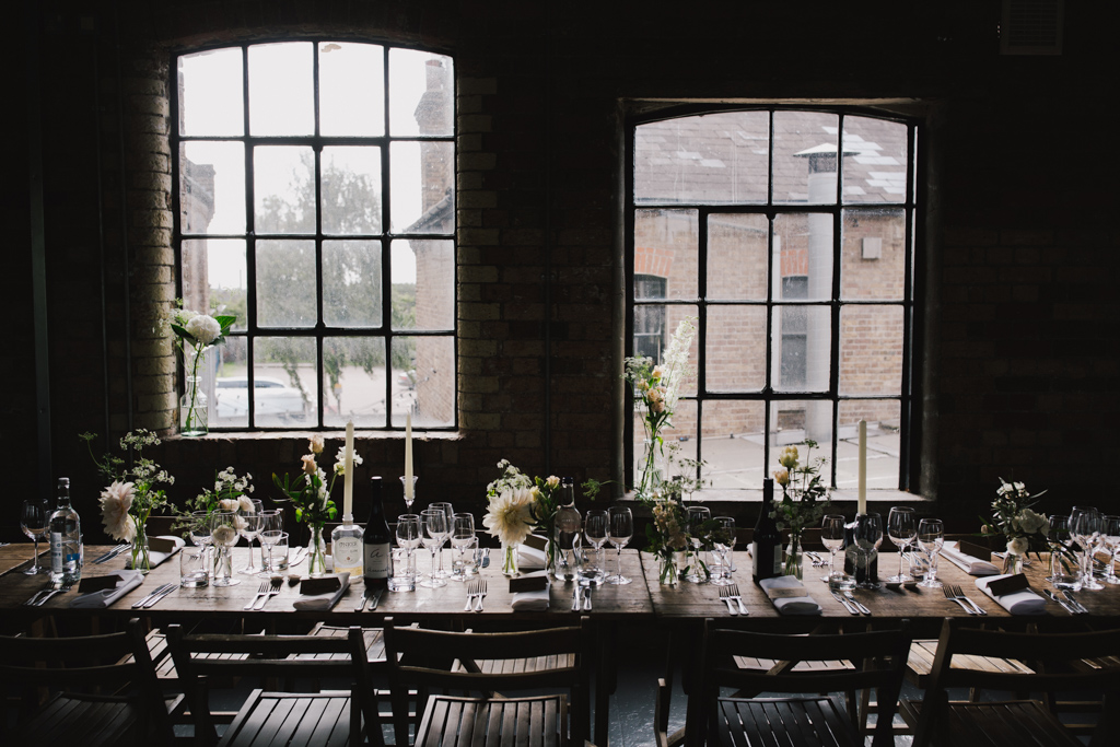 Loft Studio wedding reception room set up | Creative Modern London Wedding Photography