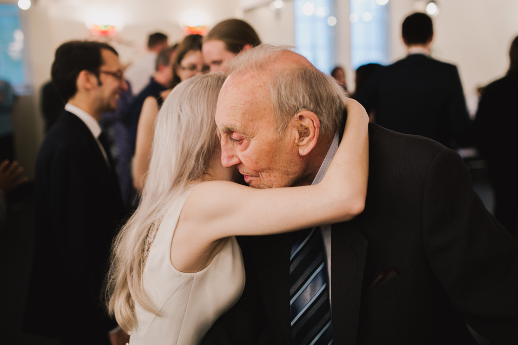 bride saying goodbye to grandad at Stoke Newington Wedding | Lisa Jane Photography | Modern London Wedding Photography