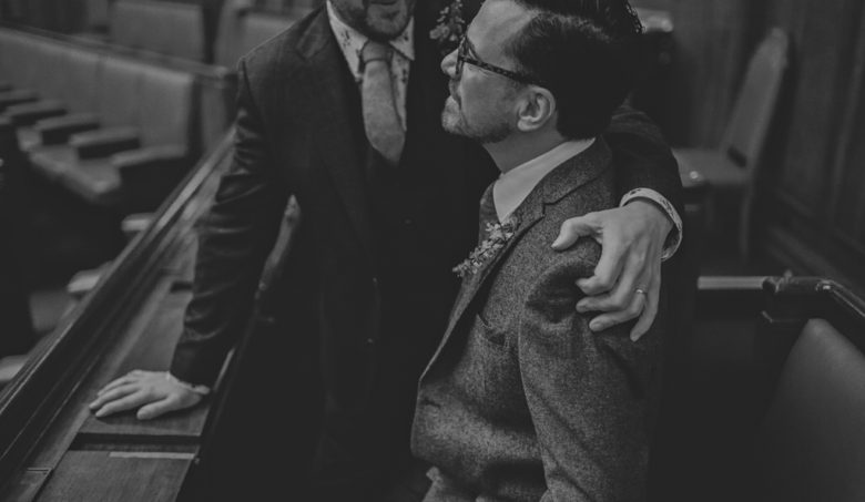 Two grooms hugging | Modern London Wedding Photography | Lisa Jane Photography