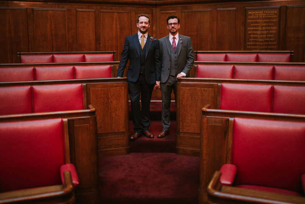 Two grooms in council chamber at Wandsworth Town Hall