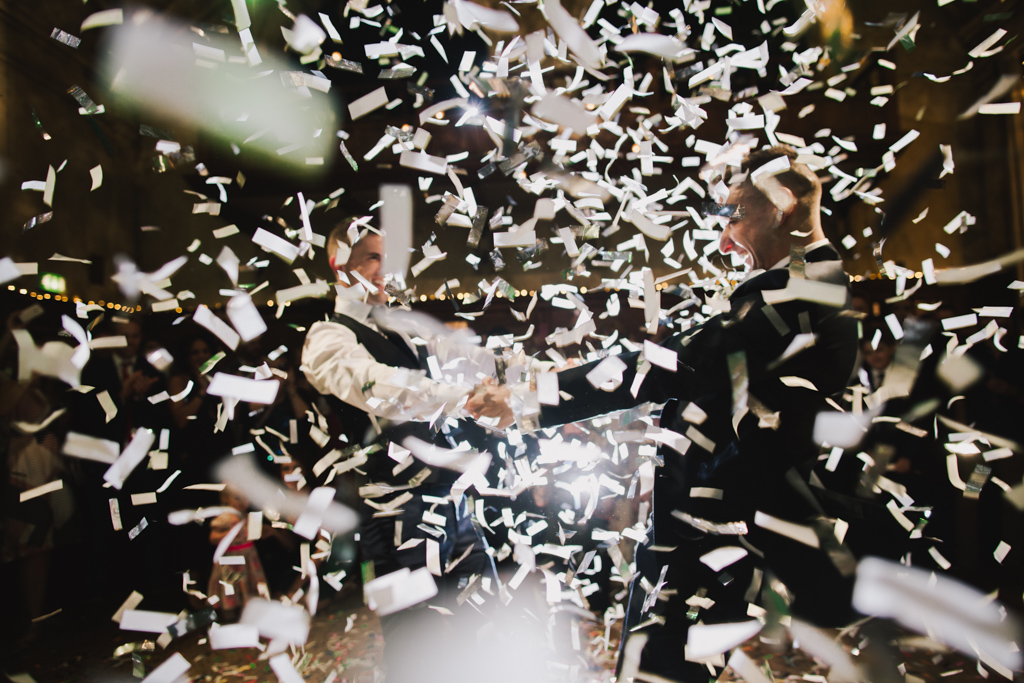 Confetti canon first dance at Battersea Arts Centre Wedding | Lisa Jane Photography | Modern London Wedding Photography