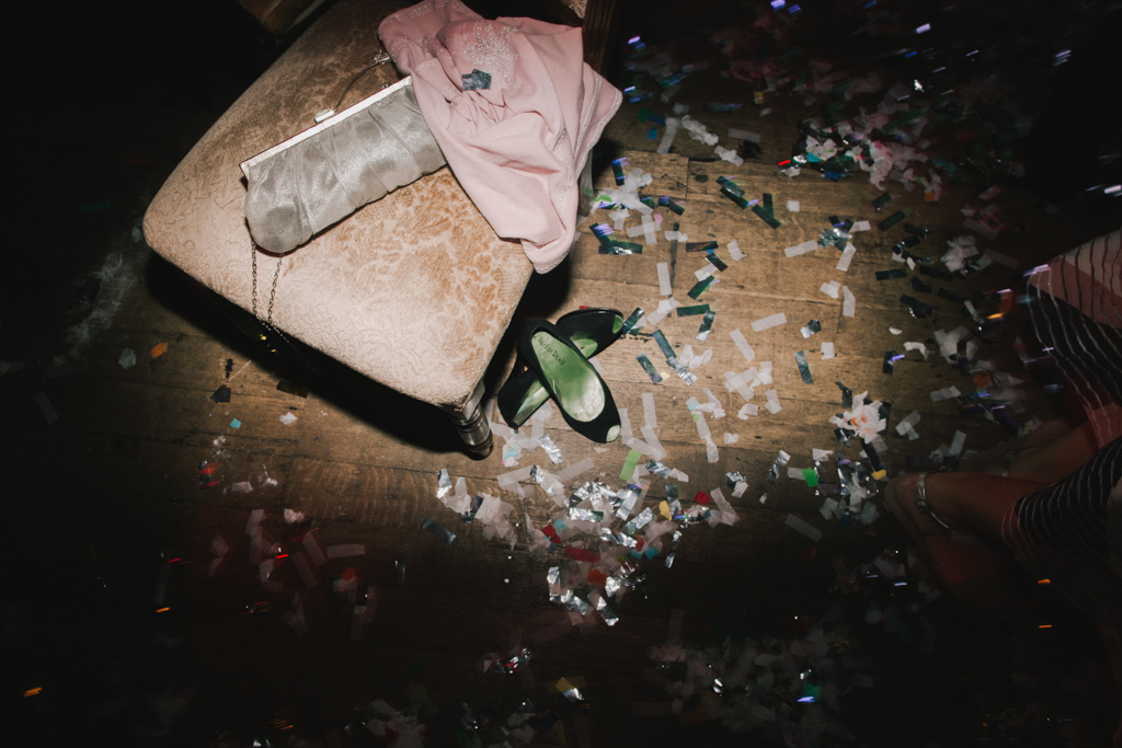 Confetti on floor at Battersea ARts Centre Wedding | Lisa Jane Photography | Creative Modern London Wedding Photography