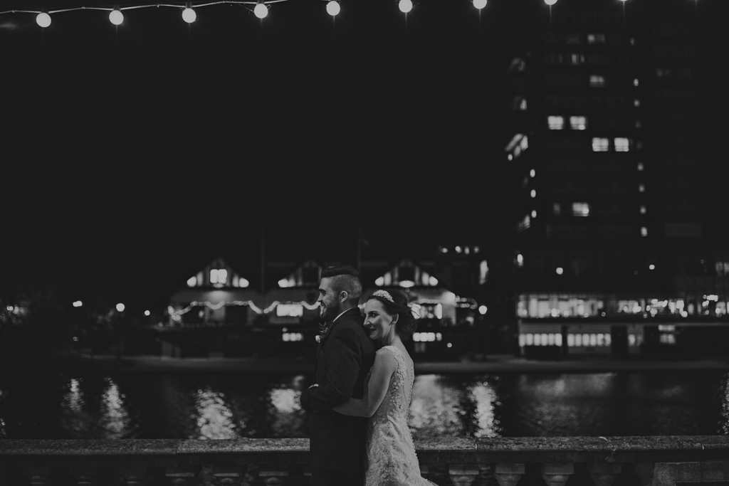Modern London wedding photography - winter wedding portraits