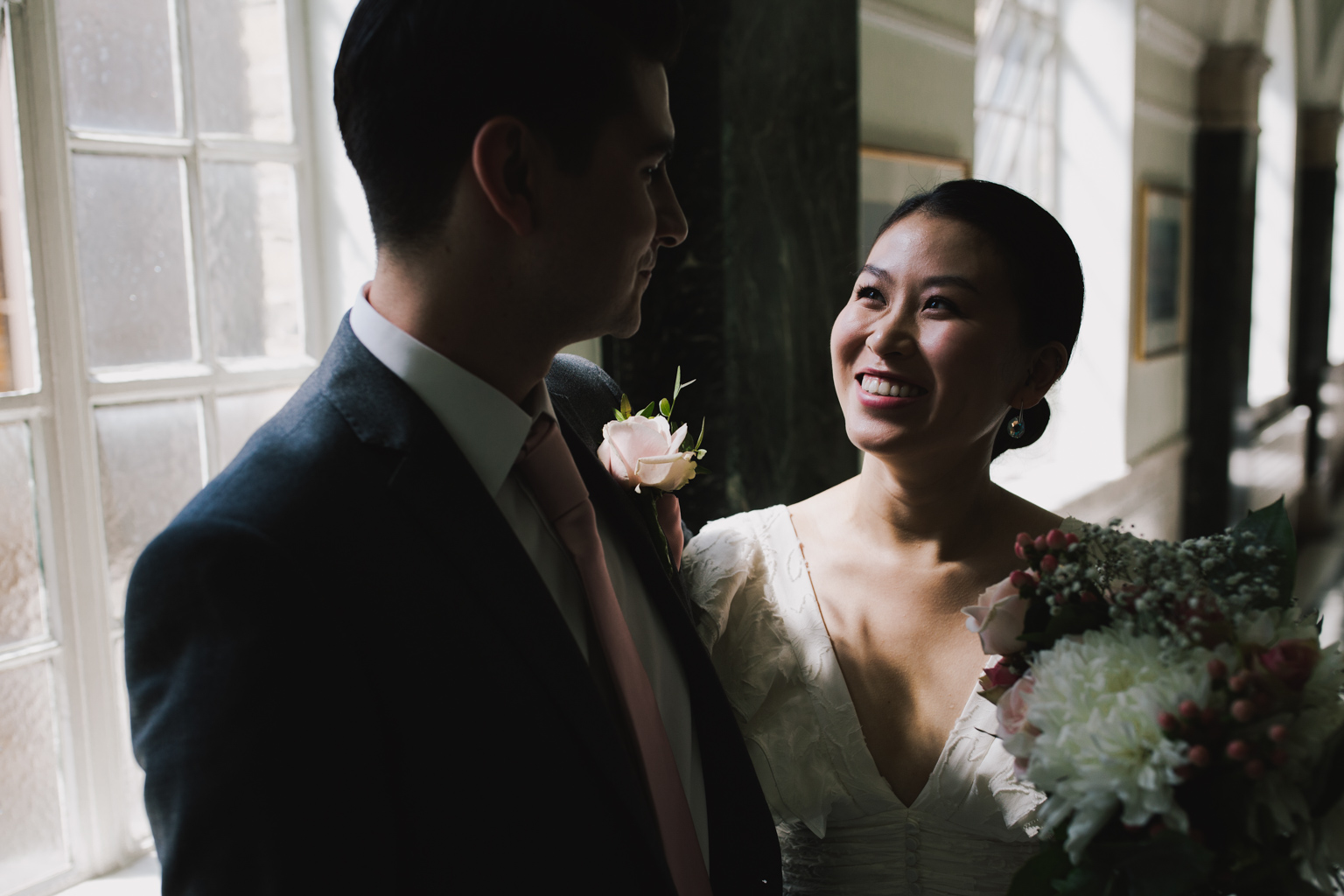 Bride and groom waiting to get married at an Islington Town Hall Elopement
