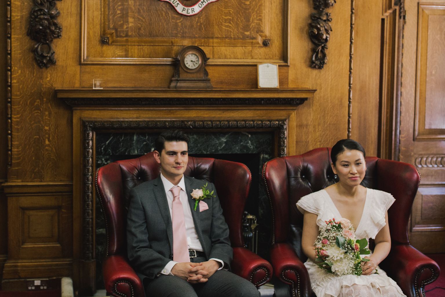 Bride and Groom in Mayors Parlor at Islington Town Hall Elopement ceremony