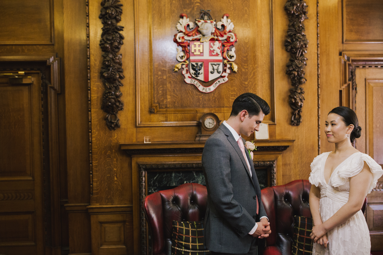 Bride and Groom during Islington Town Hall Elopement Ceremony