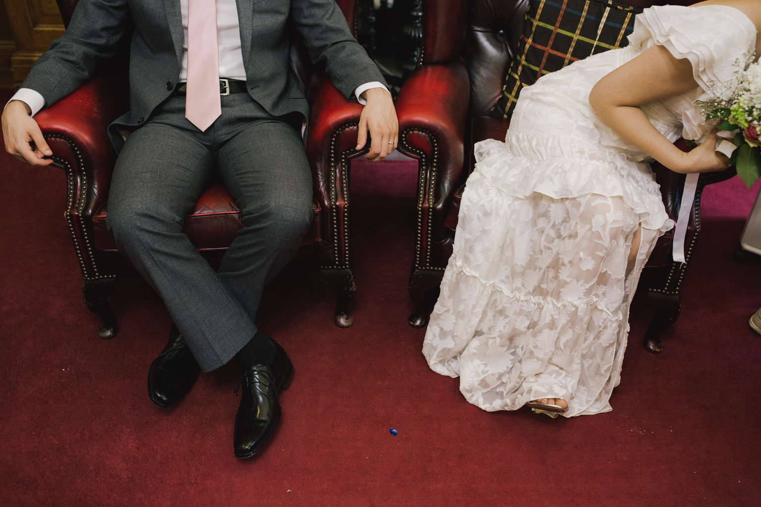 Bride and groom during their Islington Town Hall elopement