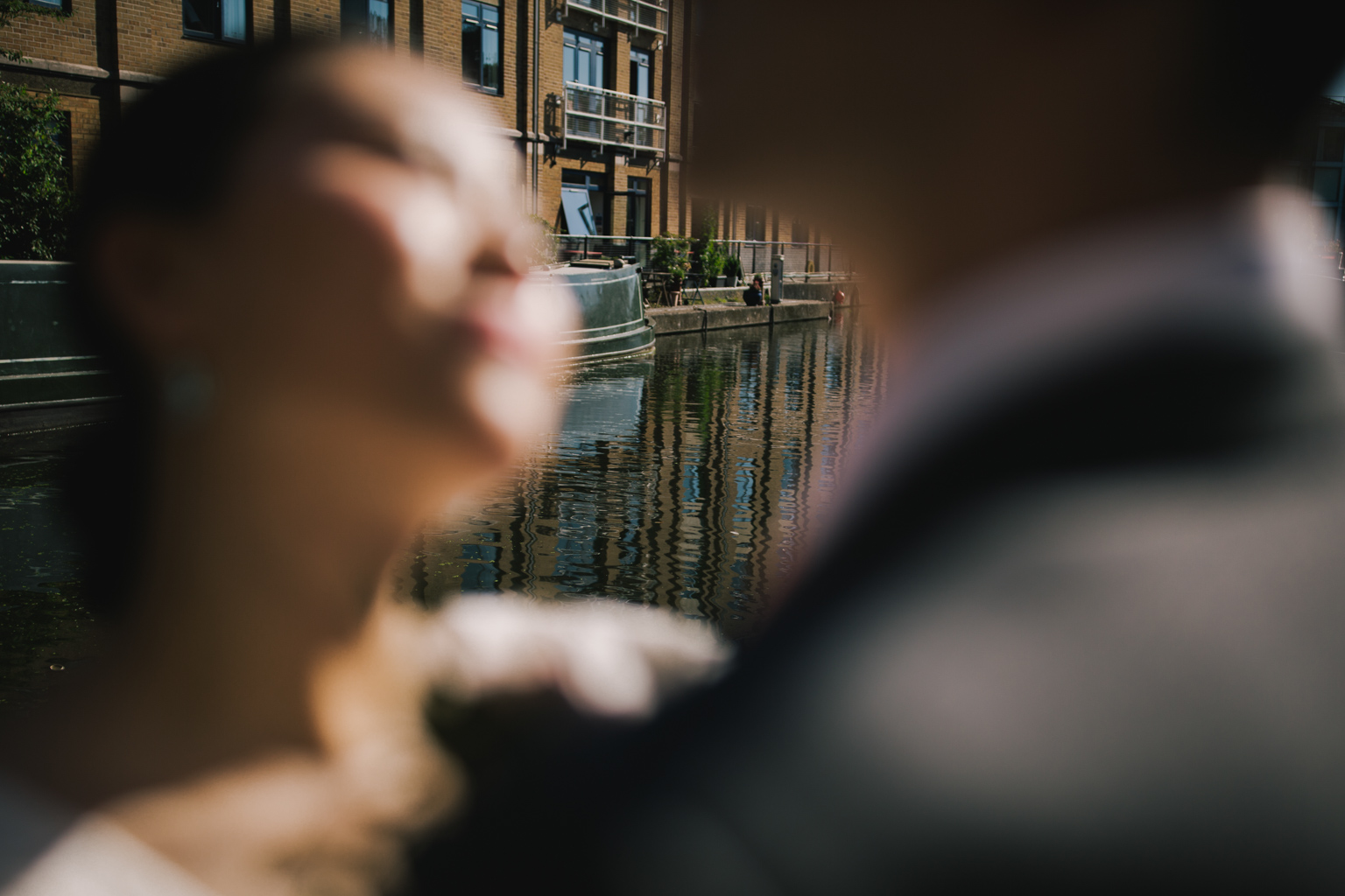 Bride and groom portrait by the canals at an Islington Town Hall Elopement