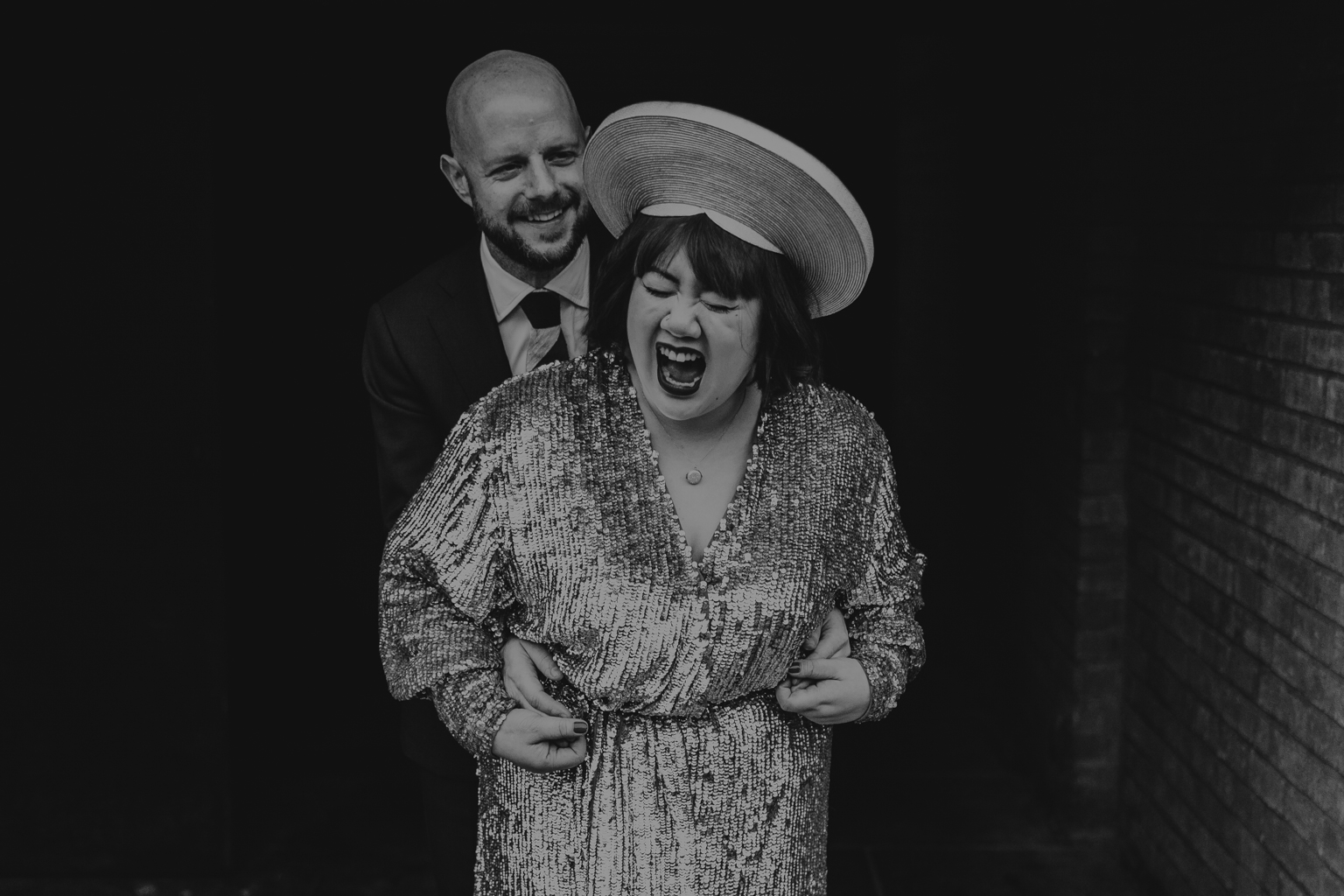 Bride adn groom laughing at South London Wedding by Lisa Jane Photography