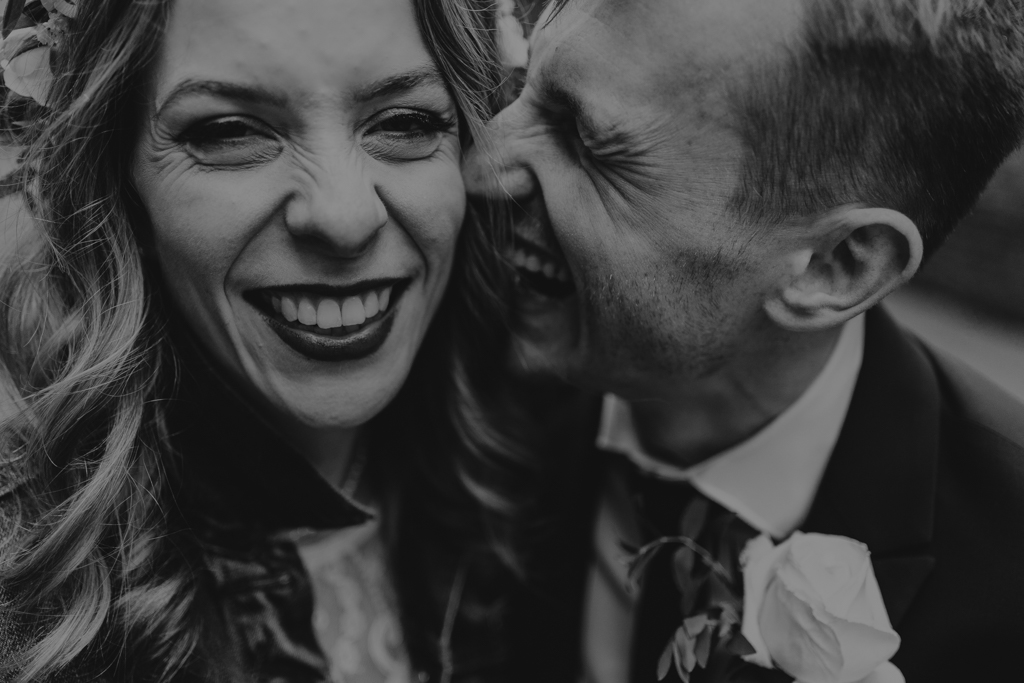 Bride & groom laughing | Shoreditch Studios Wedding | Modern Wedding Photography