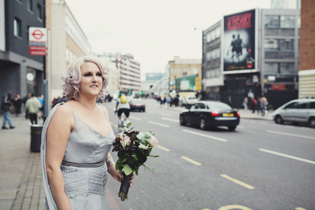 Pink haired bride silver dress